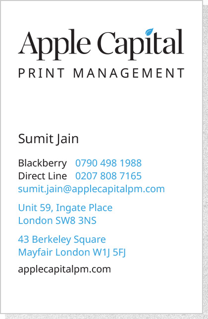 Apple Capital PM - Business Card Front 1