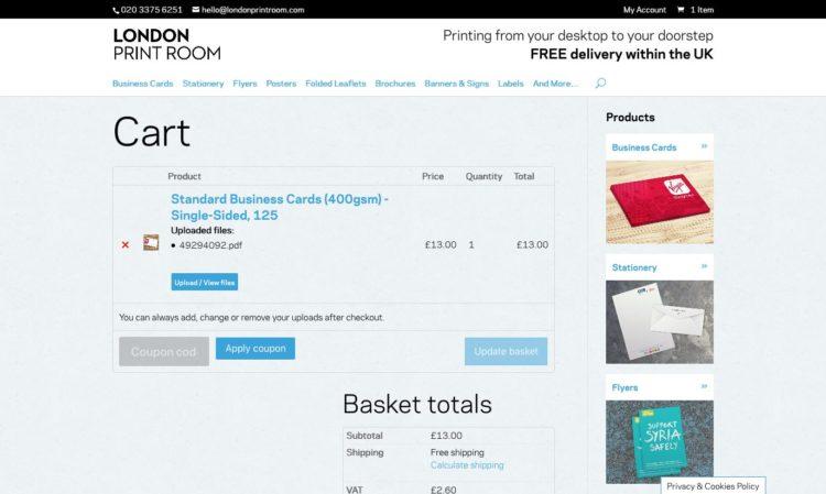 londonprintroom.com | Cart