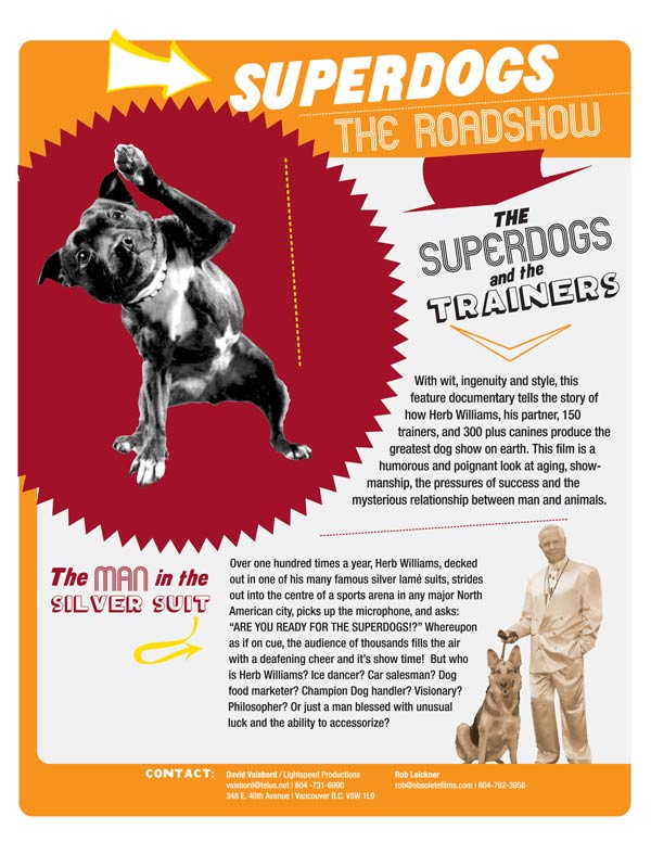 "Lightspeed Productions | ""Superdogs and the Trainers"" One-sheet (Side 1)"