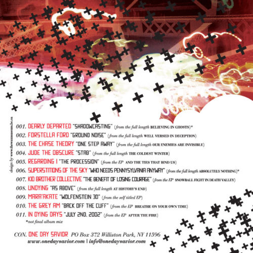 "Lumberjack Distribution | ""One Day Saviour"" Free CD Sampler - Back Cover"