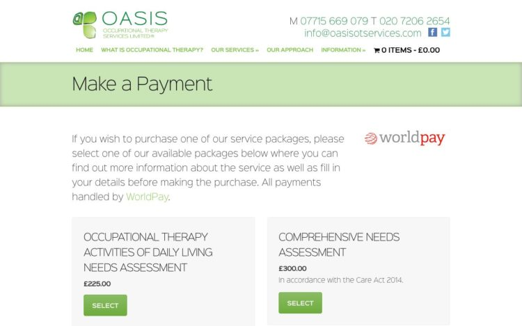 Oasis Occupational Therapy | Website - Make A Payment