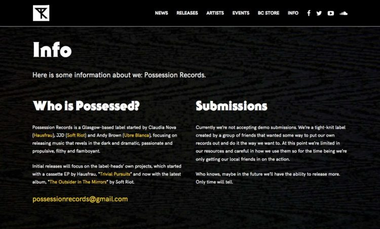Possession Records | Website - Info Page