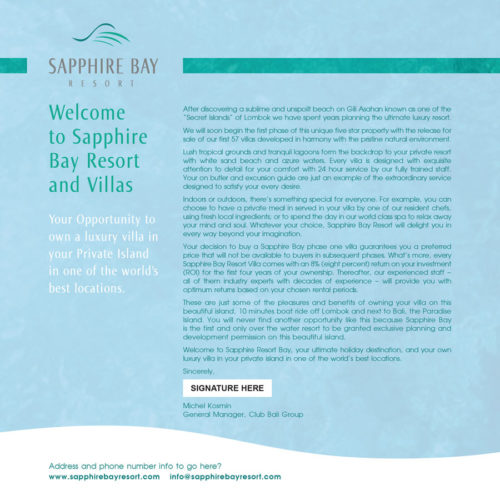 Sapphire Bay | Welcome Letter