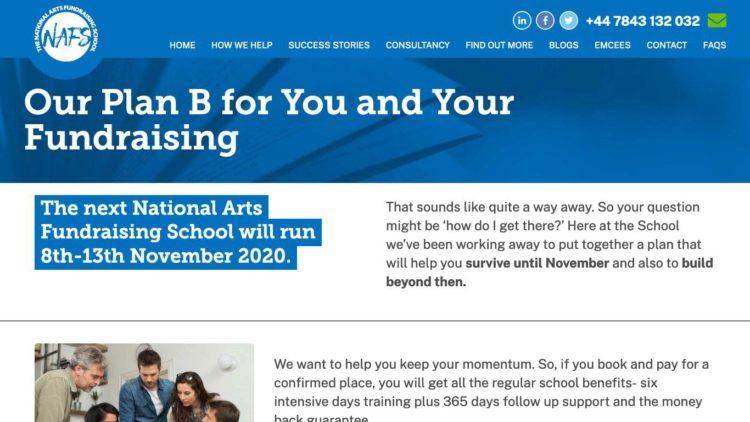 National Arts Fundraising School (NAFS) | www.nationalartsfundraisingschool.com - Plan B Info Page