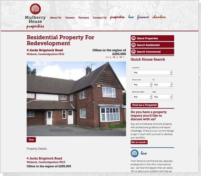 Mulberry House Group   Website Screen 1